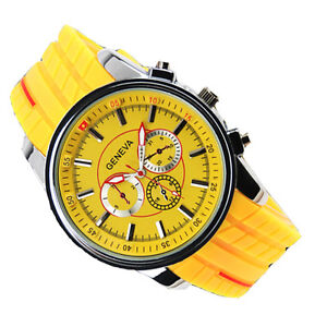 Men's Sport Wristwatch Watches Yellow Silicone Band Big Round Face