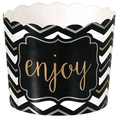 Chevron Party Supplies (BLACK, SILVER & GOLD CHEVRON SMALL PAPER CUPS (24) ~ Birthday Party Supplies)