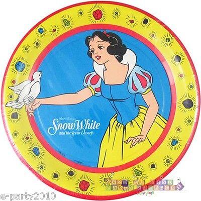 SNOW WHITE LARGE PAPER PLATES (8) ~ Vintage Birthday Party Supplies Seven Dwarfs - White Party Plates