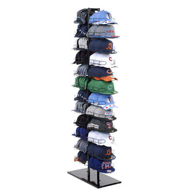 Double Sided Baseball Cap Hat Rack Floor Standing Display Tower Black