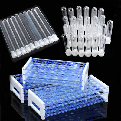 25/50pcs Plastic Test Tubes Vials with Caps & Pipe Rack Holder Stand 40/50 Holes ()