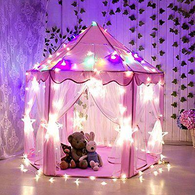 Kids Pop Up Tents  Pink Fairy Princess Castle Play House Led Star Light Playhut - Kids Pop Stars