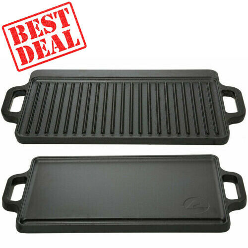 Reversible Cast Iron Grill Griddle Pan Ribbed/Flat Hamburger