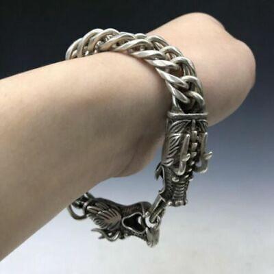 10 CM Chinese Miao Silver Handwork wire inlay Flower pattern hand chain bracelet