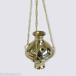 Hanging Brass Incense Burner, 3 Chains, perfect for Resin, Room Fragrance, Gift