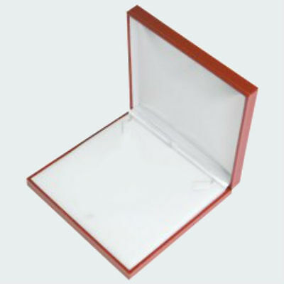 Red Jewelry Medal Badge Mount Medallion Coin Necklace Display Gift Box Case Set