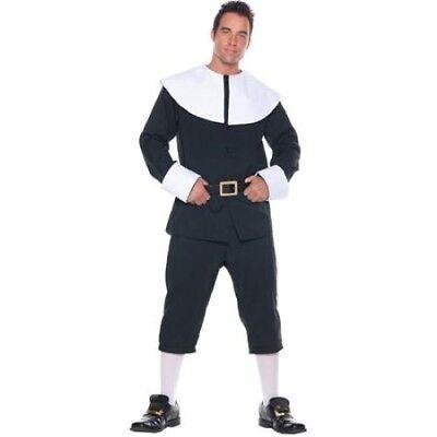 Pilgrim / Puritan Man Costume Blk/Wht 3Pc Coat W/ Collar Knicker Pant & Belt XL](Costume Knickers)