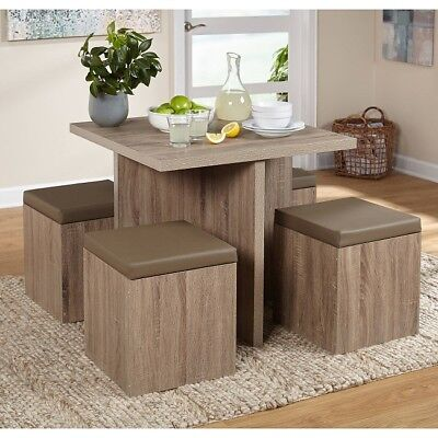 Kitchen Dining Set Breakfast Crack Table Storage Ottoman Chairs Rustic Small 5 PC