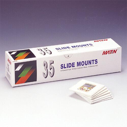Matin 35mm Slide Mounts 24 x 36mm 5x5 Frame Glassless Two-Piece Trays (100 Pcs)