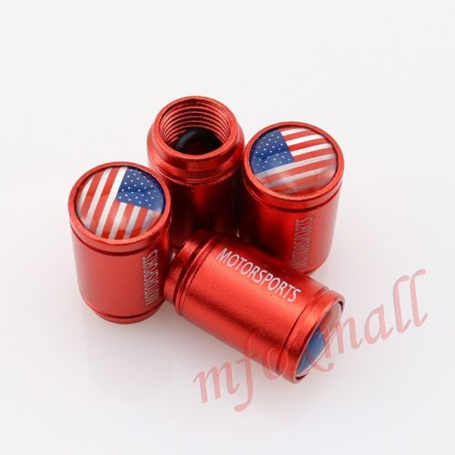 Red Vehicle Accessories Tire Tyre Valve Stem Cap Air Wheel Rim Cover USA US Flag