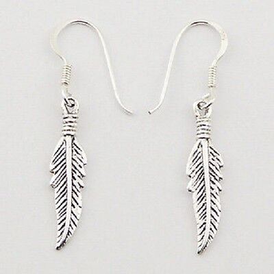 Silver earrings new hook drop 925 sterling antique feather dangle 36mm height