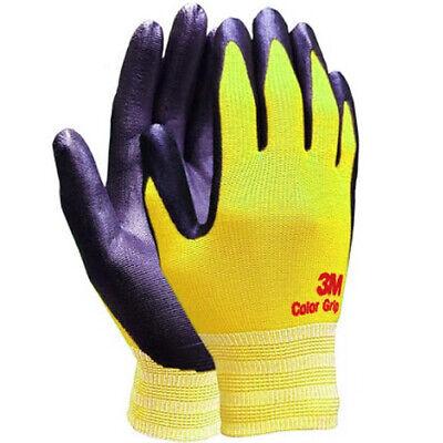 3M Color Grip Yellow Safety Gloves Nylon Nitrile Foam Coated (10 Pairs) Medium i