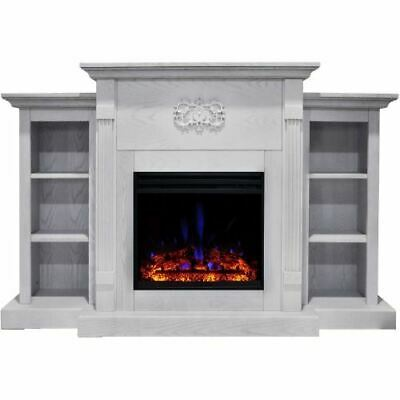 """Sanoma Electric Fireplace Heater with 72"""" White Mantel, Book"""