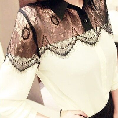 Women's Vintage Lace Long Sleeve Button Chiffon Splicing T-shirt Blouse Tops O