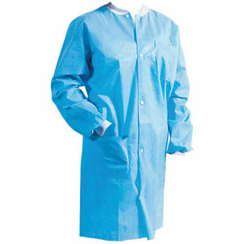 5 Medical Dental Disposable Lab Coats Jackets Blue 5/bag MEDIUM Size 3 Pockets