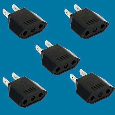 5pack Euro to US wall Jack Power converter for traveling 2 p