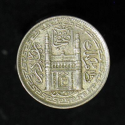 AH1362 (1943) India Hyderabad 2 Annas silver coin high grade