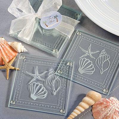 Set of 2 Beach Coaster Wedding Favors Seashell Glass Reception Gift Coasters - Beach Favors