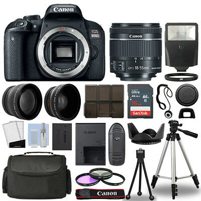 Canon EOS 800D SLR Camera Body + 3 Lens Kit 18-55mm IS STM + 16GB + Flash & More for sale  Shipping to India