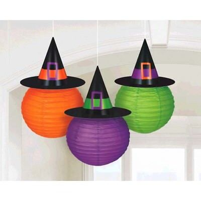 HALLOWEEN WITCH HAT PAPER LANTERNS (3) ~ Birthday Party Supplies Decorations - Witch Hat Decorations