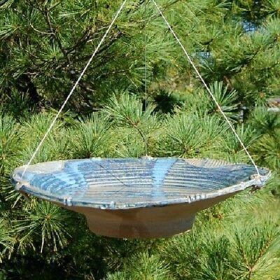 LARGE CERAMIC FRENCH BLUE HANGING BIRD BATH