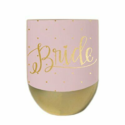 Mary Square Stemless Wine Glass with Lid Bride Motif Pink