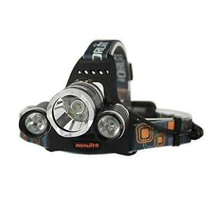 3 CREE LED Headlamp Flashlight,4 Modes 6000 Lumens Super Bright Waterproof Headlight