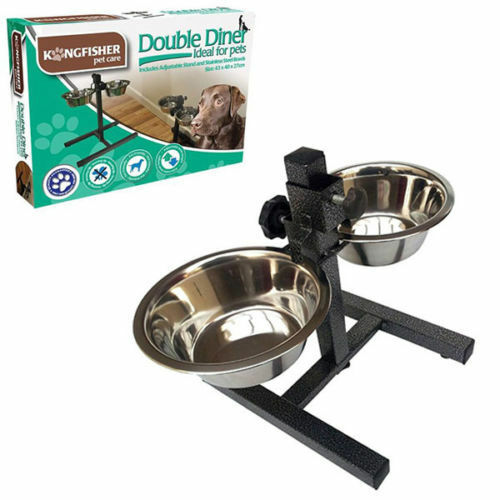 Double Stainless Steel Pet Dog Food Water Bowls Set With