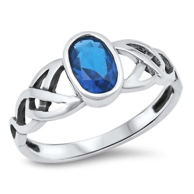 - Blue Sapphire CZ Celtic Knot Criss Cross Ring Sterling Silver Band Size 10 NEW