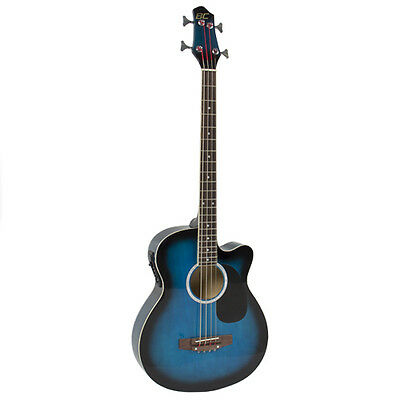 Blue Acoustic Electric Bass Guitar With Equalizer Solid Construction