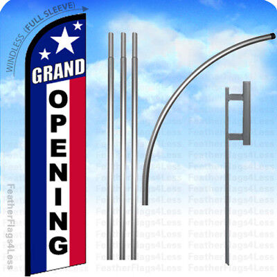 Grand Opening - Windless Swooper Flag Kit 15 Feather Banner Sign - Stars F
