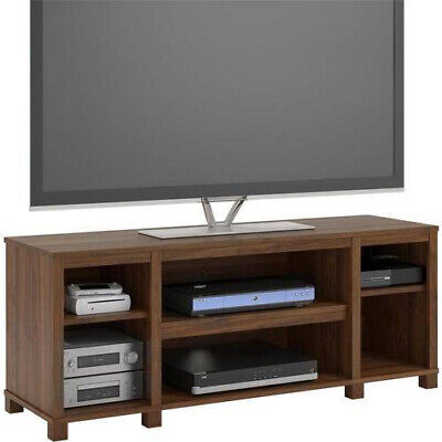 Entertainment Cubby TV Stand, up to 50 inch TV, Walnut Medium Brown Wood Finish - Finished Wood Tv Stand