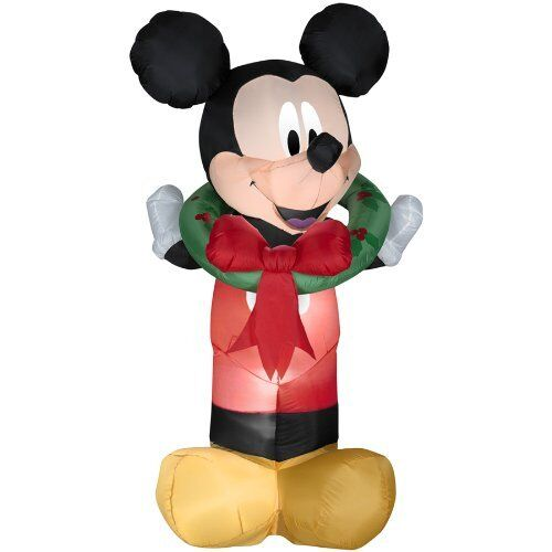 Christmas Disney Mickey Mouse Wreath Airblown Inflatable Gemmy 5.5 Ft Tall