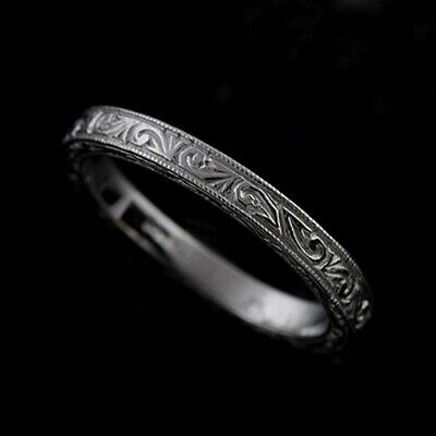 14K Solid White Gold Art Deco Style Engraved Wedding Band Ring 2.5 mm Wide