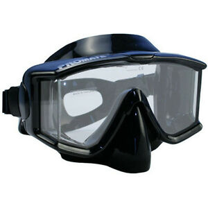 NEW-Panoramic-Edgeless-Purge-Dive-Mask-Scuba-Freedive-Snorkeling-BLACK-Side-View