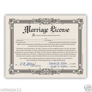 Funny Marriage License Bachelorette Bachelor Party Wedding Gag Gift Certificate