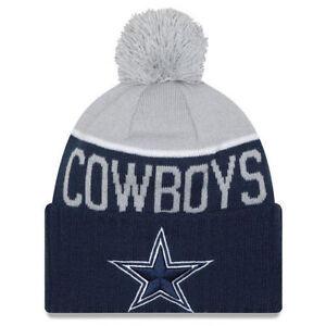 5fcd8be5ac8b04 Dallas Cowboys Era Knit Hat on Field Sideline Beanie Pom Stocking Cap 2015