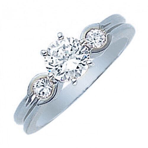 3 Stone GIA Certified 0.90carat Round Cut Diamond Engagement Ring 18k White Gold