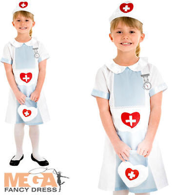 Nurse Uniform Girl's Fancy Dress Up Child Kids Costume Book Week Outfit Ages 3-8