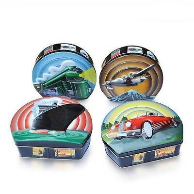 Travel Theme Set Plane Train Boat Car Silver Crane 4 Decorative Tins Retired (Retirement Decorations Themes)