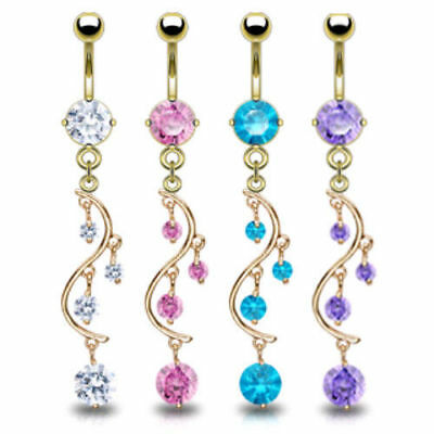 14k Gold Plated CZ Gem Vine Dangle Belly Ring Navel Clear, Pink, Purple, Aqua