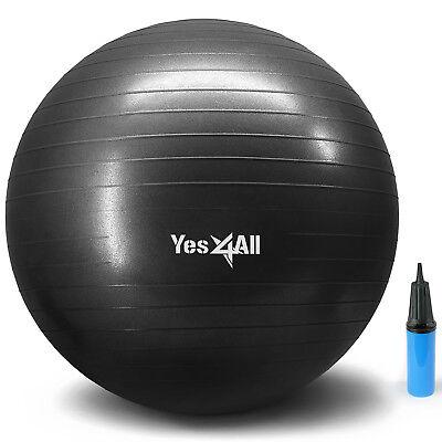 Yoga Ball W Hand Pump Anti Burst Exercise Stability 55cm - Black - ²5