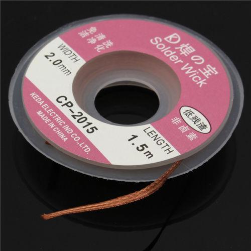 New 2.0 mm Desoldering Braid Solder Remover Copper Wick 1.5m Spool Wire Cable CA