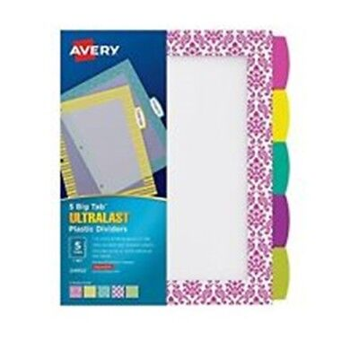 Avery 24902 Ultralast Plastic Dividers, Big 5 Design Tabs ~  Free Shipping