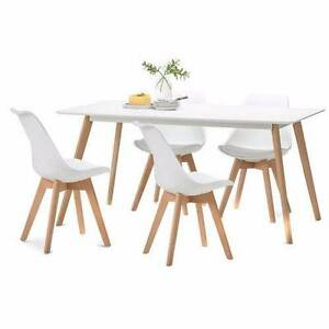 White Scandi Dining Table Set with 4 White Padded Eames Chairs Hackham Morphett Vale Area Preview