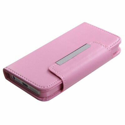 Pink Flip Folio Case (Pink Leather Wallet Card Holder Case Cover Folio Flip Pouch for iPHONE SE 5 5S )