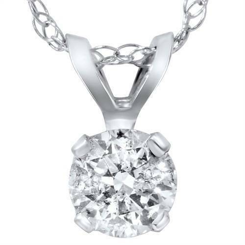 1/3ct Solitaire Diamond Pendant 14 Karat White Gold
