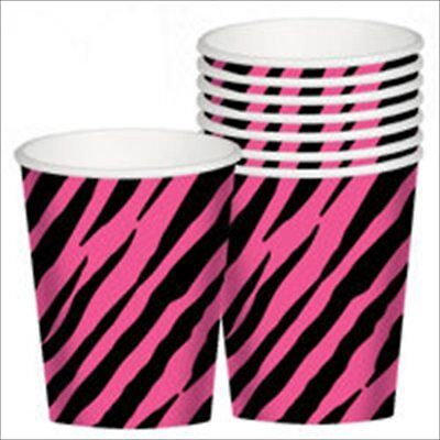 ZEBRA STRIPES Pink and Black 9oz PAPER CUPS (8) ~ Birthday Party Supplies Animal](Halloween Paper Plates And Cups)