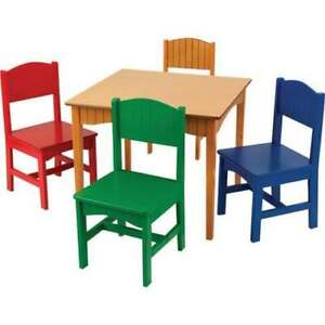 KidKraft Nantucket Table & 4-Chair Set - Honey / Primary Colours Model #: 26121