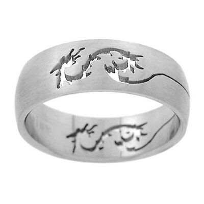 Titanium Band with Cut-out Dragon Design